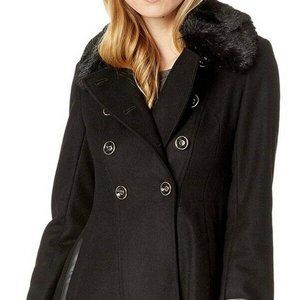 Via Spiga Double Breasted Faux Fur Club Coat